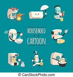 Household Appliances Cartoon Design Concept
