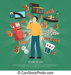Desire To Win Concept - Desire to win concept with gambling...