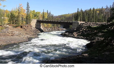 Rapids and Bridge - Rapids flowing under bridge, Cheslatta...
