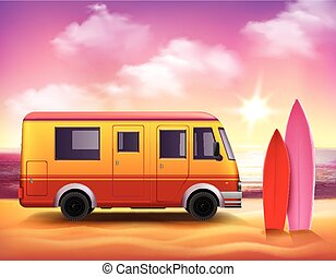 Surfing Van 3D Colorful background Poster - Retro style 3D...