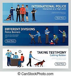 International Police Service Flat Banners Set -...