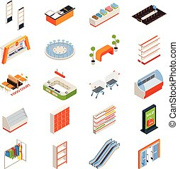 Hypermarket Furniture Objects Set - Shopping mall isometric...