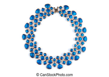 Gold necklace with blue rhinestones, isolated on white.