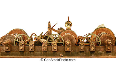 Rusty ancient church clock mechanism isolated on white -...