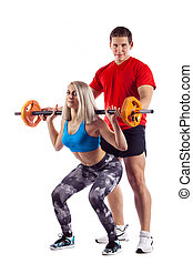 Couple, man and woman doing workout on white isolated background