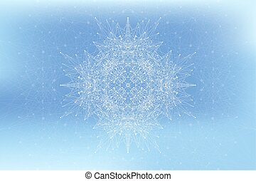 Fractal element with connected lines and dots. Big data...