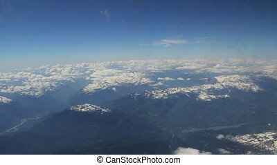 Snow Caps - Aerial view of snow capped mountains from...