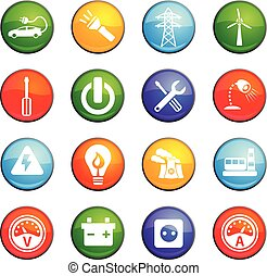 electricity icon set - electricity vector icons for user...