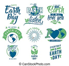 Vector illustration of happy Earth day element set with earth globe, leaves