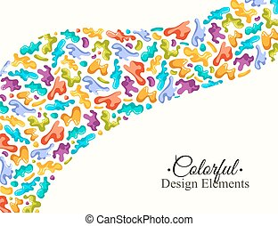 Background with colorful spots and sprays on a white. Vector...