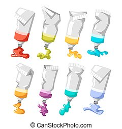 Set of colorful vector paint tubes isolated on white...