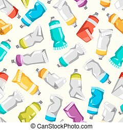 Set of colorful vector paint tubes. seamless pattern