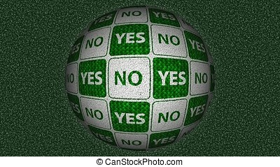 Decorative green and white video with rotating sphere - yes and no