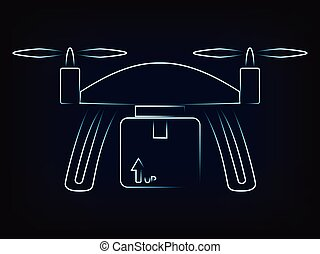 commercial drone delivery with parcel, vector - vector of...