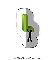sticker colorful worker holding word L in 3d