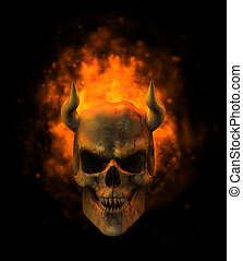 Flaming Demon Skull - 3D render