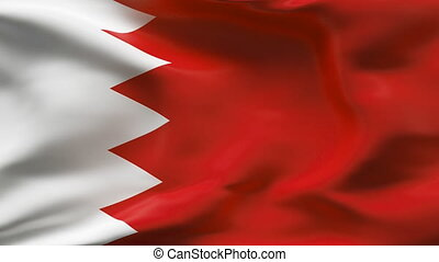 Creased BAHRAIN satin flag in wind