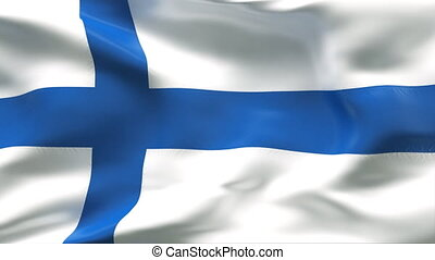 Creased FINLAND satin flag in wind