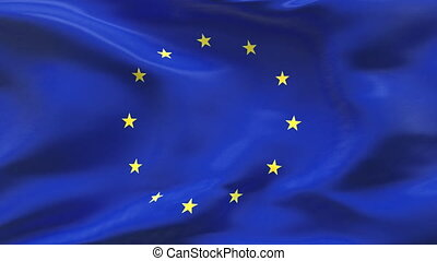 Creased EUROPEAN flag in wind - Highly detailed texture with...