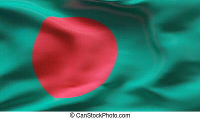 Creased BANGLADESH flag in wind - Highly detailed texture...