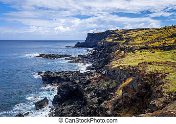 Easter island cliffs and pacific ocean landscape, Chile