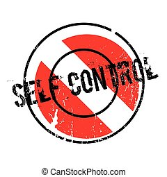 Self Control rubber stamp. Grunge design with dust...