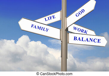 Life, Work and Balance - Work Life Balance Signpost in a...
