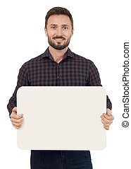 Man holding a blank sign