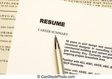 Resume curriculum vitae with newspaper ads as background.
