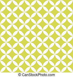Green and white overlapping circles. Abstract retro design...
