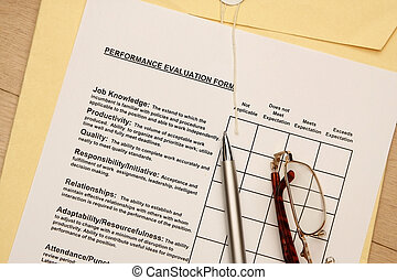 Employee Performance Evaluations - this is a close up image...