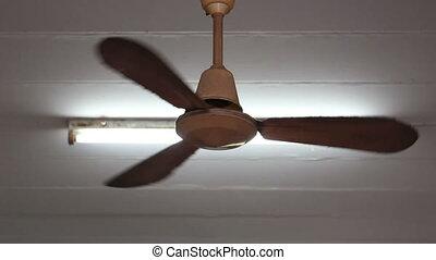 A ceiling fan in a house