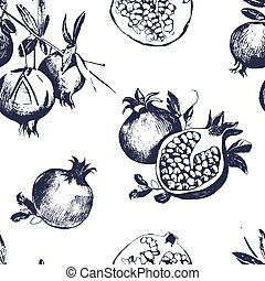 Seamless pattern with pomegranates. Fruit on white background.