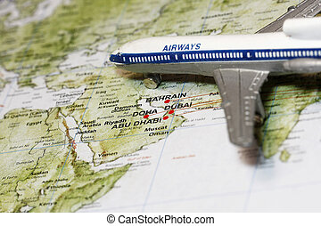 Travel to Middle East concept - with toy air plane and...