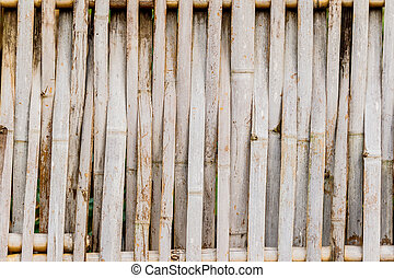 old grungy thai handcraft of bamboo weave pattern fence.