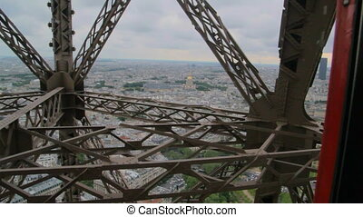 POV the rise inside the Elevator to the Eiffel tower - iron...