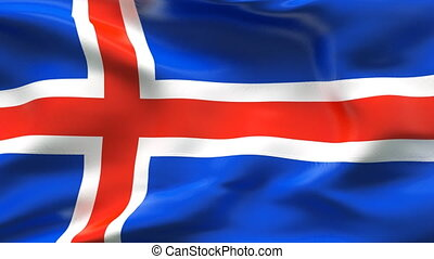 Creased ICELAND satin flag in wind