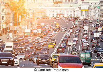 Traffic on the multilane street - Rows of cars on a...