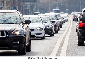 Traffic on the road, close-up view - Zoom view of the...