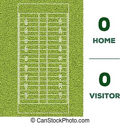 American football line, game score and green grass field background