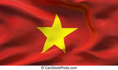 Creased VIETNAM satin flag in wind - Highly detailed texture...
