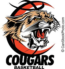 cougars basketball team design with mascot head inside ball...
