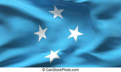 Creased MICRONESIA flag in wind - Highly detailed texture...