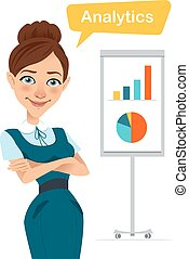 Woman stands near flipchart with chart, diagram. - Woman is...