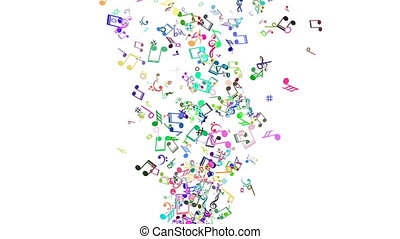 Abstract Background with Colorful Music notes. LOOP