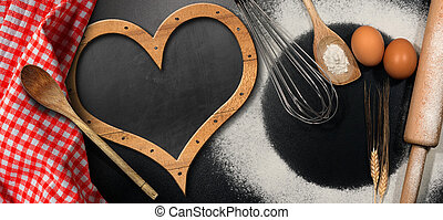 Baking Background with Empty Blackboard - Baking background...