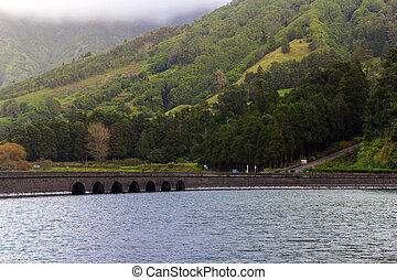 Bridge on lake Sete Cidades, the Azores, Portugal