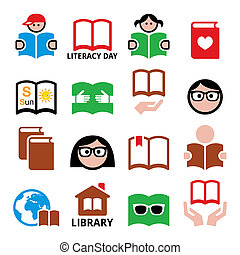 Children and adults reading books, International Literacy...