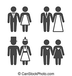 Couple Getting Married Icons Set. Vector