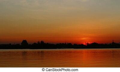 Timelapse Sunrising at Thailand - timelapse orange sunset in...